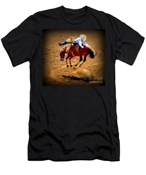 Bucking Broncos Rodeo Time Men's T-Shirt (Slim Fit) by Susan Garren