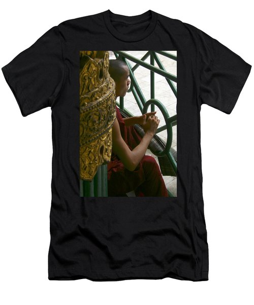 Buddhist Monk Leaning Against A Pillar Sule Pagoda Central Yangon Myanar Men's T-Shirt (Athletic Fit)