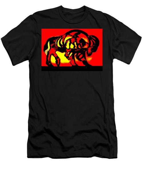Men's T-Shirt (Slim Fit) featuring the photograph Buffalo Sun Set by Larry Campbell
