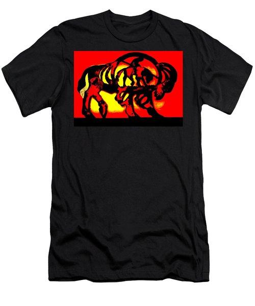 Buffalo Sun Set Men's T-Shirt (Slim Fit) by Larry Campbell