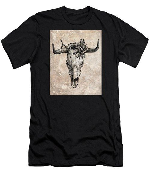 Bull Skull And Rose Men's T-Shirt (Athletic Fit)