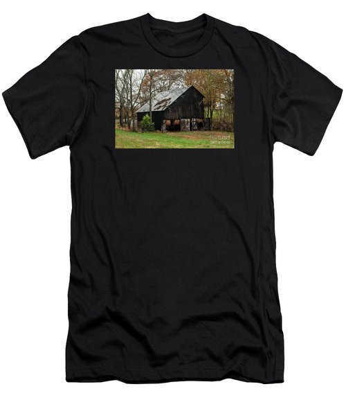 Men's T-Shirt (Slim Fit) featuring the photograph Burley Tobacco  Barn by Debbie Green