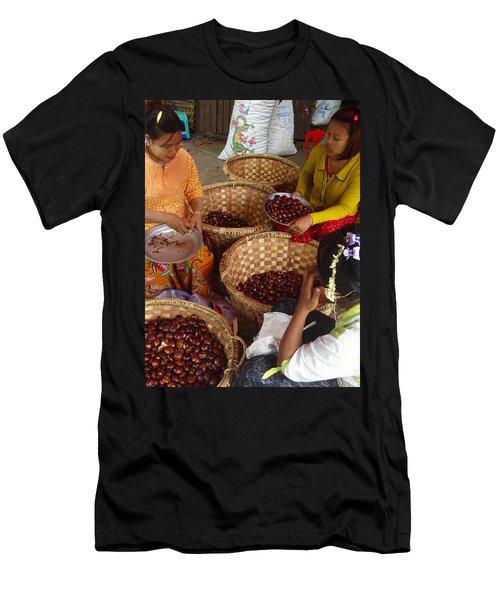 Men's T-Shirt (Slim Fit) featuring the photograph Burmese Ladies Sorting Water Chestnuts Zay Cho Street Market 29th Street Mandalay Burma by Ralph A  Ledergerber-Photography