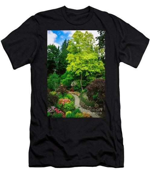 Butchart Gardens Pathway Men's T-Shirt (Athletic Fit)