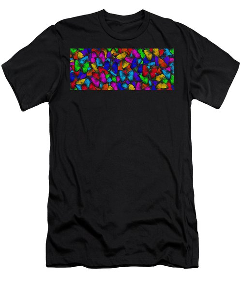Men's T-Shirt (Slim Fit) featuring the photograph Butterflies In Flight Panorama by Kyle Hanson