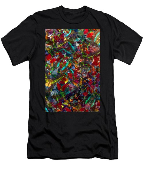 Men's T-Shirt (Slim Fit) featuring the photograph Butterfly Collage Red by Robert Meanor