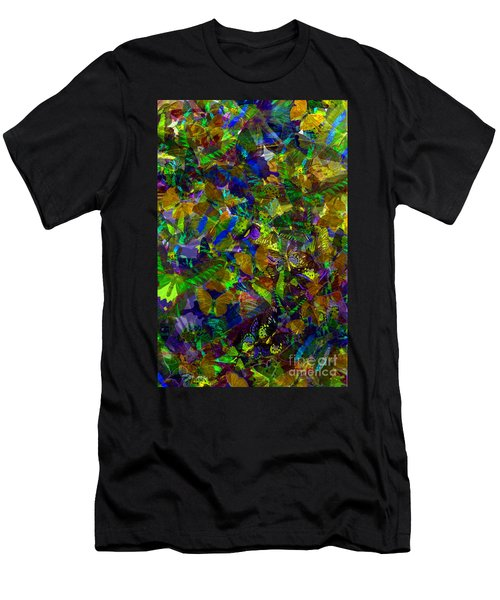 Men's T-Shirt (Slim Fit) featuring the photograph Butterfly Collage Yellow by Robert Meanor