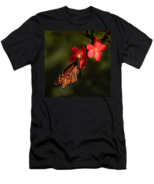 Butterfly On Red Blossom Men's T-Shirt (Athletic Fit)