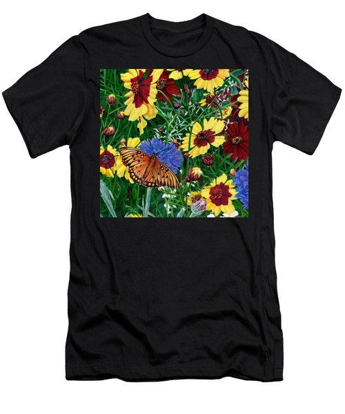 Butterfly Wildflowers Garden Floral - Square Format Image - Spring Decor - Green Blue Orange-2 Men's T-Shirt (Athletic Fit)