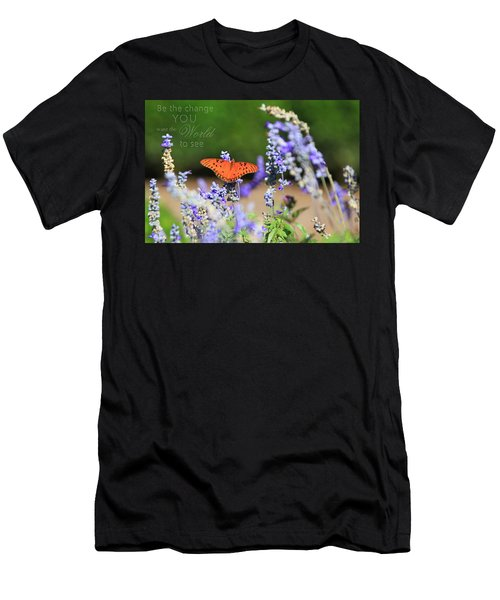 Butterfly With Message Men's T-Shirt (Athletic Fit)