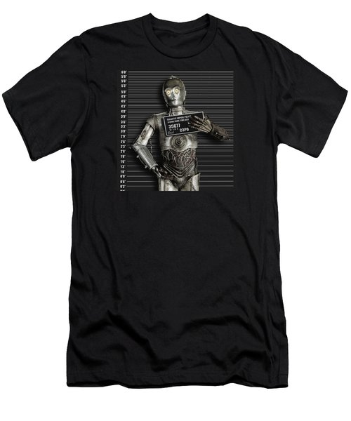 C-3po Mug Shot Men's T-Shirt (Slim Fit) by Tony Rubino