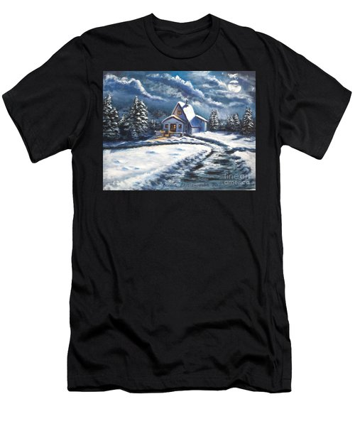 Cabin At Night Men's T-Shirt (Athletic Fit)
