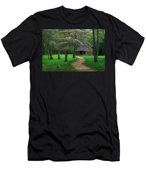 Men's T-Shirt (Slim Fit) featuring the photograph Cabin In Cades Cove by Rodney Lee Williams