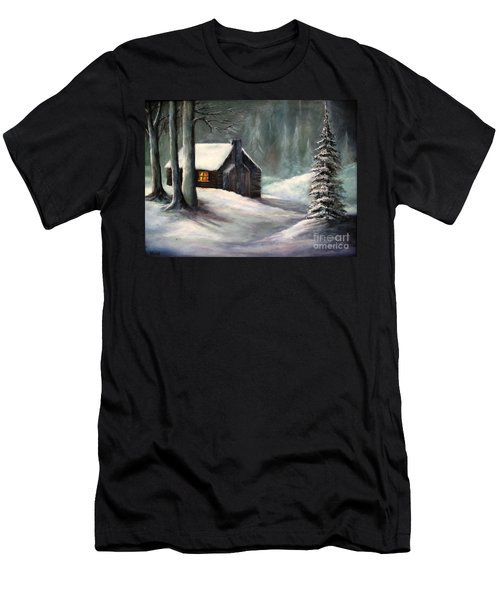 Cabin In The Woods Men's T-Shirt (Slim Fit) by Hazel Holland