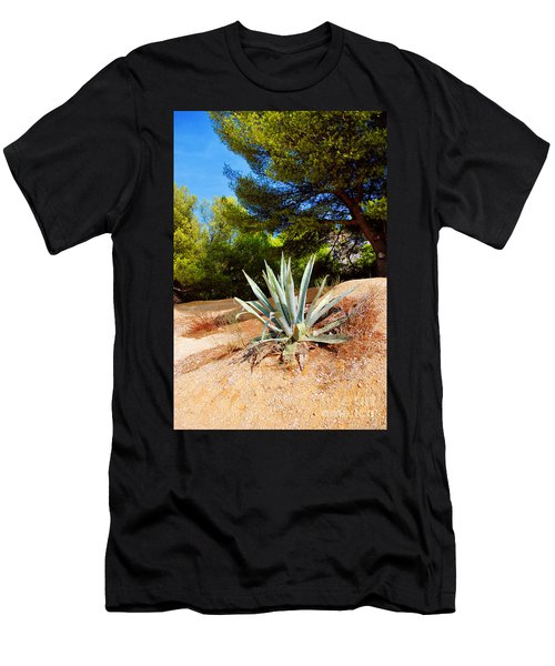 Men's T-Shirt (Slim Fit) featuring the photograph Cactus On A Rocky Coast Of French Riviera by Maja Sokolowska