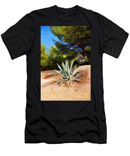 Cactus On A Rocky Coast Of French Riviera Men's T-Shirt (Slim Fit) by Maja Sokolowska
