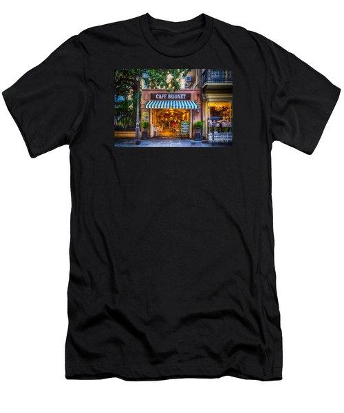 Cafe Beignet Morning Nola Men's T-Shirt (Slim Fit) by Kathleen K Parker