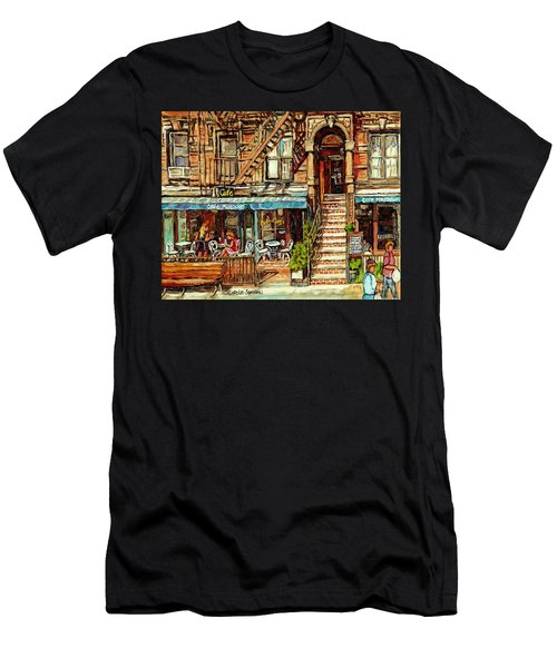 Cafe Mogador Moroccan Mediterranean Cuisine New York Paintings East Village Storefronts Street Scene Men's T-Shirt (Athletic Fit)