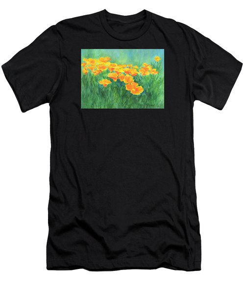 California Golden Poppies Field Bright Colorful Landscape Painting Flowers Floral K. Joann Russell Men's T-Shirt (Athletic Fit)