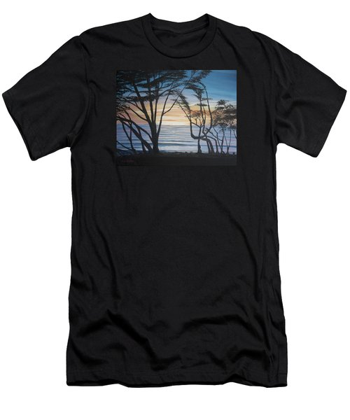 Men's T-Shirt (Slim Fit) featuring the painting Cambria Cypress Trees At Sunset by Ian Donley