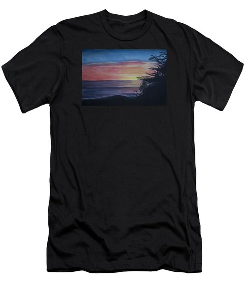 Men's T-Shirt (Slim Fit) featuring the painting Cambria Setting Sun by Ian Donley