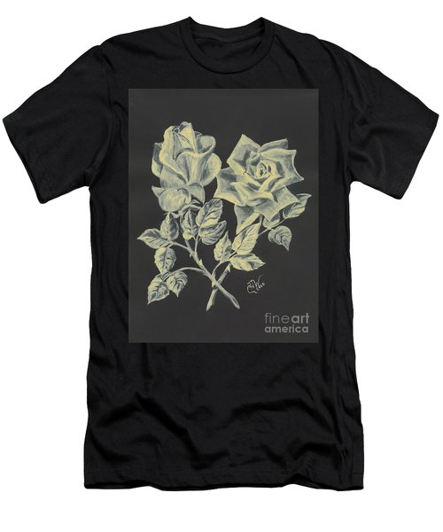 Men's T-Shirt (Slim Fit) featuring the painting Cameo Rose by Carol Wisniewski