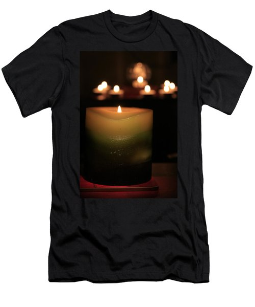 Men's T-Shirt (Athletic Fit) featuring the photograph Candle Light by Susan Leonard