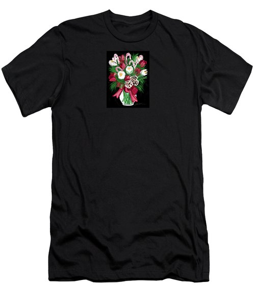 Men's T-Shirt (Slim Fit) featuring the painting Candy Cane Bouquet by Jean Pacheco Ravinski