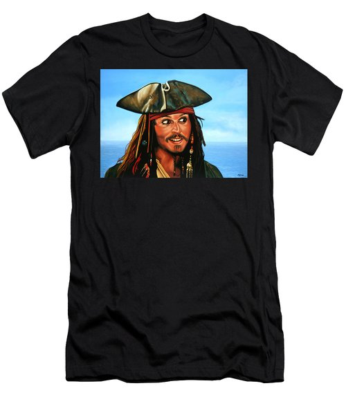 Captain Jack Sparrow Painting Men's T-Shirt (Slim Fit) by Paul Meijering