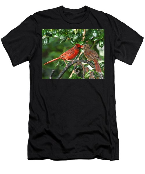 Cardinal Bird Valentines Love  Men's T-Shirt (Athletic Fit)