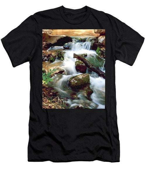 Cascades In Roman Nose State Park Men's T-Shirt (Slim Fit)