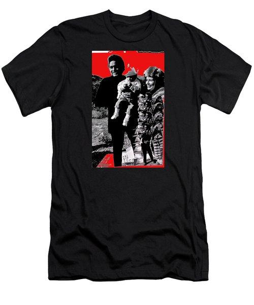 Men's T-Shirt (Slim Fit) featuring the photograph Cash Family In Red Old Tucson Arizona 1971-2008 by David Lee Guss