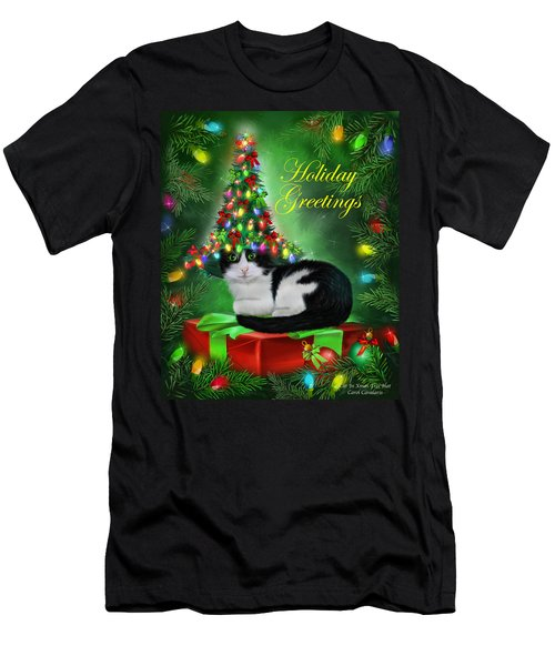 Cat In Christmas Tree Hat Men's T-Shirt (Athletic Fit)