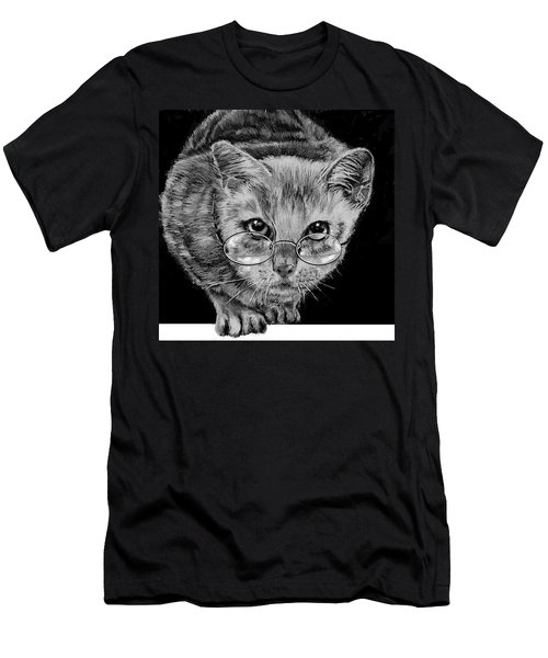 Cat In Glasses  Men's T-Shirt (Slim Fit) by Jean Cormier