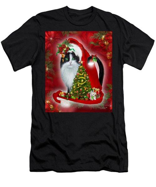Cat In Long Santa Hat Men's T-Shirt (Athletic Fit)