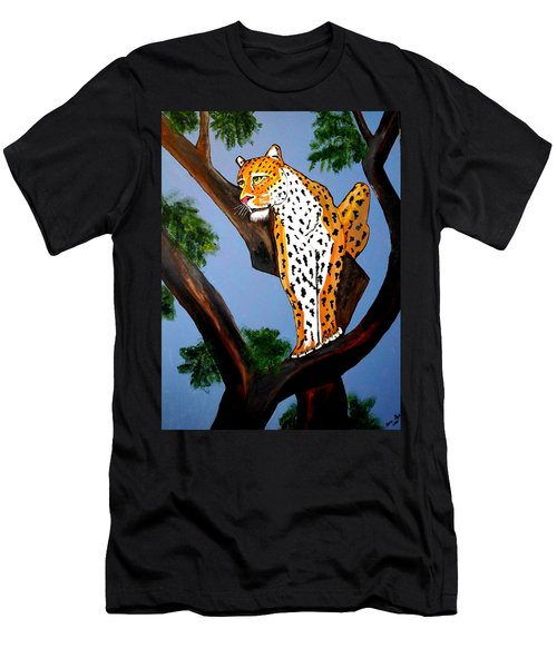 Men's T-Shirt (Slim Fit) featuring the painting Cat On A Hot Wood Tree by Nora Shepley