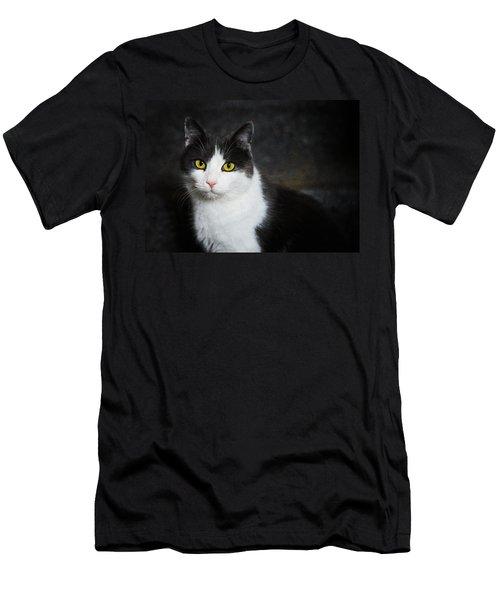 Cat Portrait With Texture Men's T-Shirt (Athletic Fit)