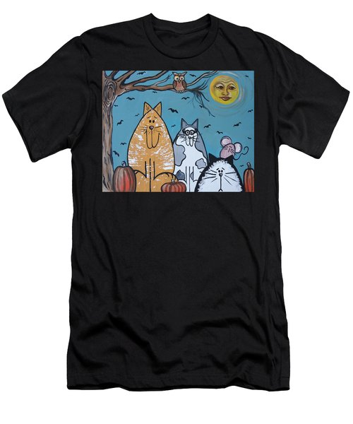 Cats And Harvest Moon Men's T-Shirt (Athletic Fit)