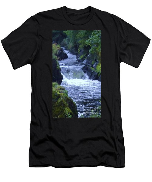 Men's T-Shirt (Slim Fit) featuring the photograph Cenarth Falls by John Williams