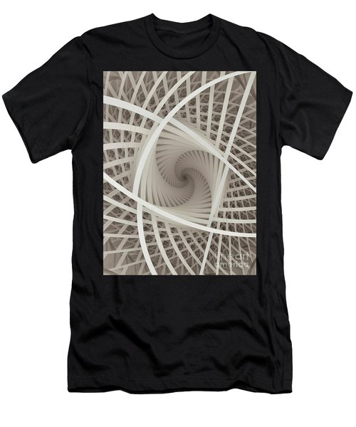 Centered White Spiral-fractal Art Men's T-Shirt (Athletic Fit)