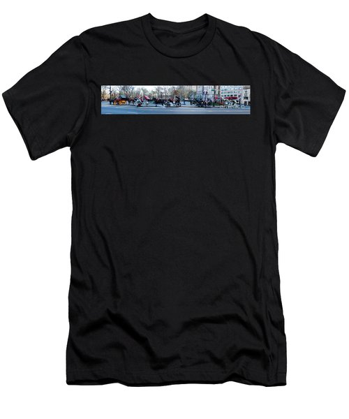 Central Park Horse Carriage Station Panorama Men's T-Shirt (Athletic Fit)