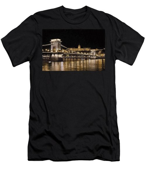 Chain Bridge And Buda Castle Winter Night Painterly Men's T-Shirt (Athletic Fit)