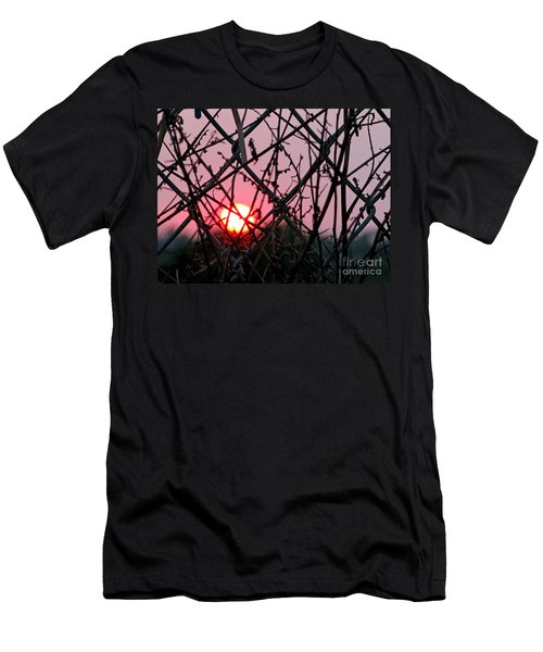 Men's T-Shirt (Slim Fit) featuring the photograph Chain Link Sunset by Jennie Breeze