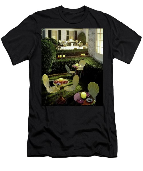 Chairs And Tables In A Garden Men's T-Shirt (Athletic Fit)
