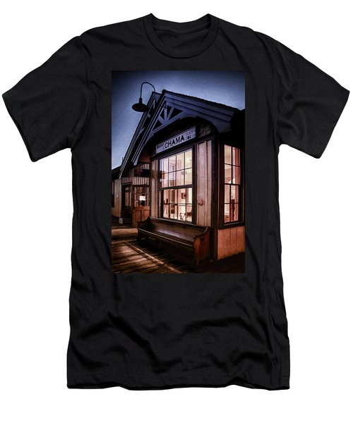 Chama Train Station Men's T-Shirt (Slim Fit) by Priscilla Burgers