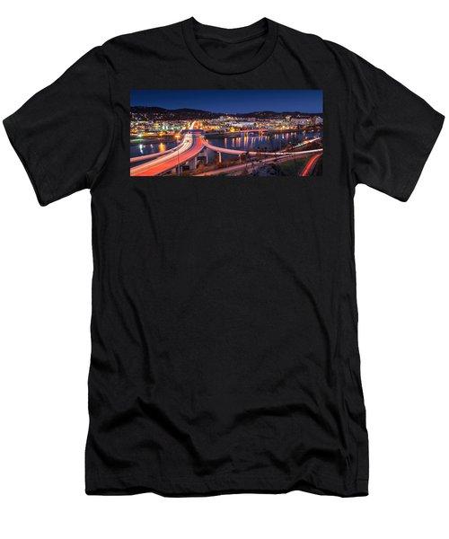 Charleston Wv At Night Men's T-Shirt (Slim Fit) by Mary Almond