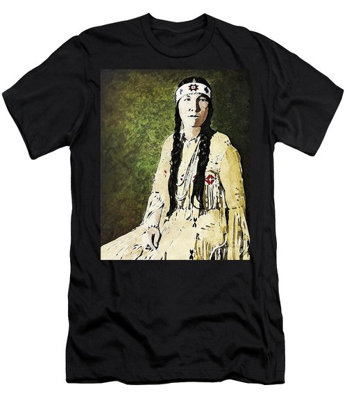 Men's T-Shirt (Slim Fit) featuring the digital art Cherokee Woman by Lianne Schneider