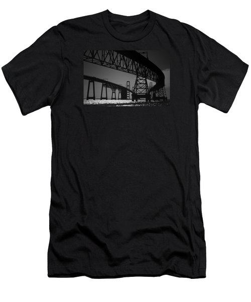 Chesapeake Bay Bridge At Annapolis Men's T-Shirt (Slim Fit) by Skip Willits