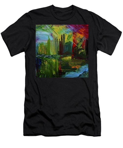 Chicago City Scape Men's T-Shirt (Slim Fit) by Dick Bourgault