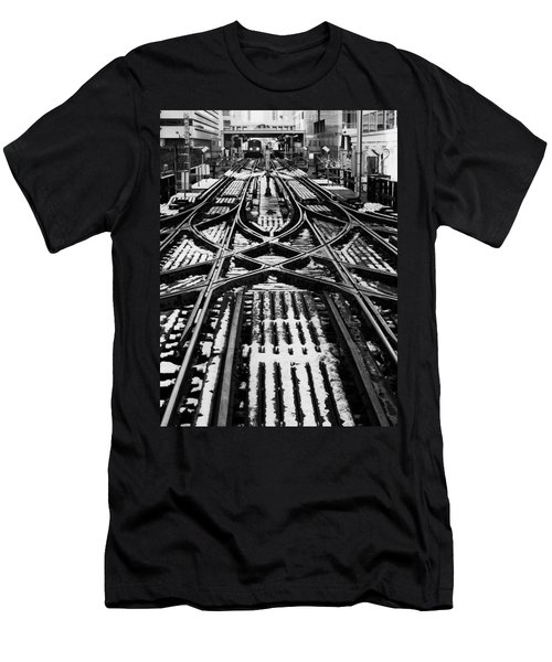 Men's T-Shirt (Slim Fit) featuring the photograph Chicago 'l' Tracks Winter by Kyle Hanson